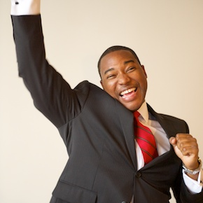 Excited Business Man by Karina Louise Photography